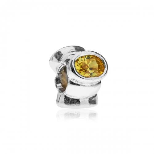 Pandora Pandora Cat's Eye Silver & Yellow CZ Charm 790289YCZ