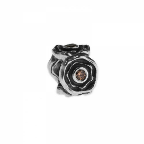 Pandora Silver  and Brown CZ Flower Charm 790316BCZ