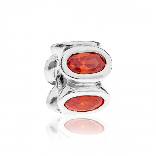 Pandora Oval Silver & Orange CZ Charm 790311OCZ