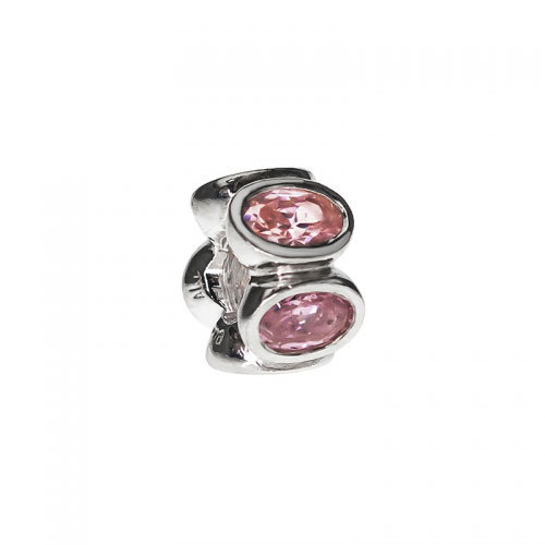 EX DISPLAY: Pandora Silver and Pink Zirconia Oval Charm 790311PCZ
