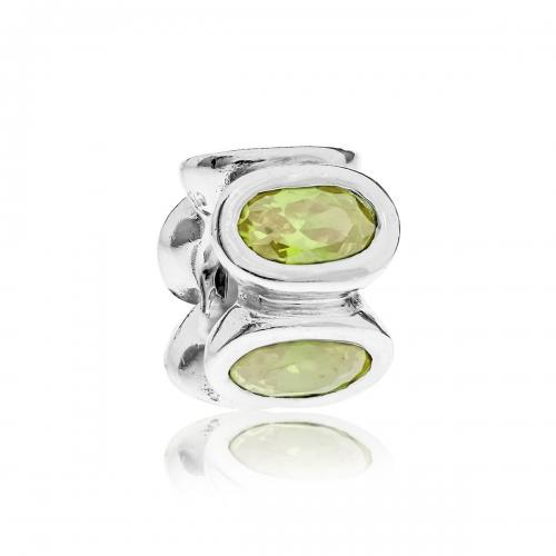 Pandora Oval Silver & Lime CZ Charm 790311CZL