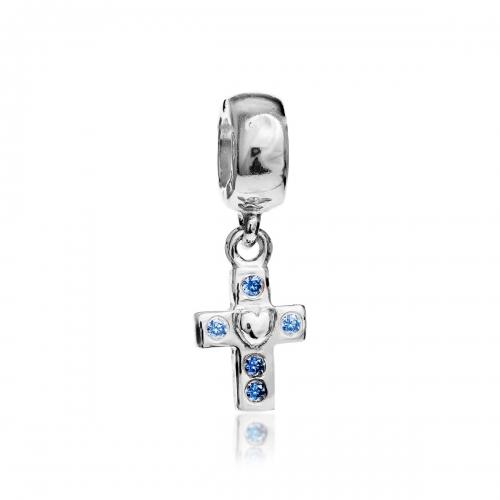Pandora Cross Silver & Blue CZ Pendant Charm 790355CZB
