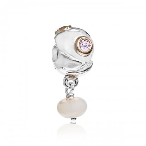 Pandora Serenity Silver, 14ct Gold & Lavender CZ Pendant Charm 790358LCZ