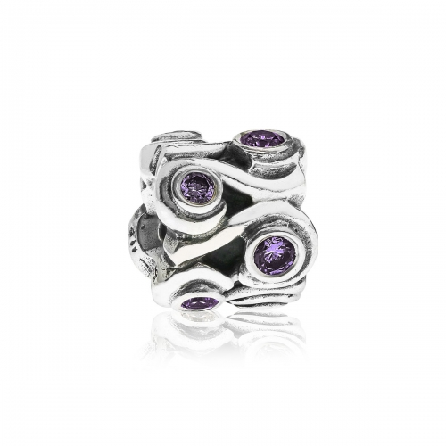 Pandora Silver  and Purple Ocean Wave Charm 790369ACZ
