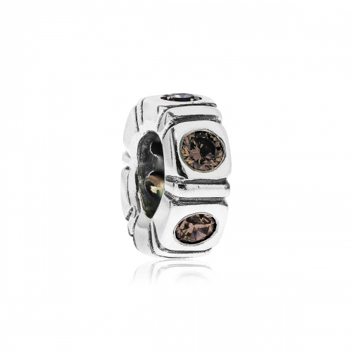 Pandora Pandora Northern Light Silver & Brown CZ Trinity Spacer 790368BCZ