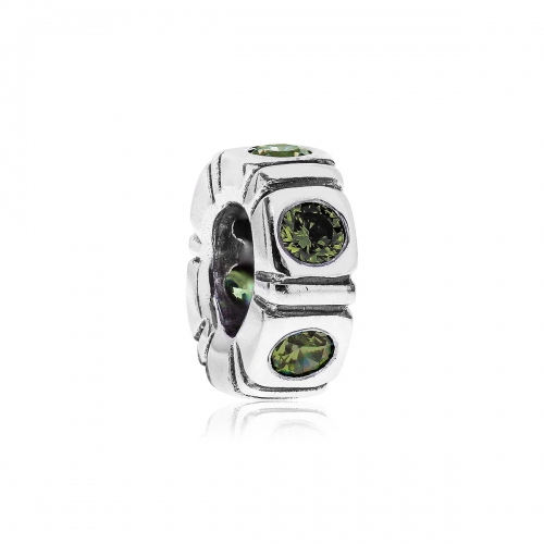 Pandora Northern Light Silver & Green CZ Trinity Spacer 790368GCZ