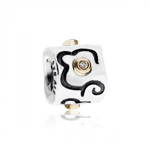 Pandora Life's Path Silver, 14ct Gold & Diamond Charm 790419D