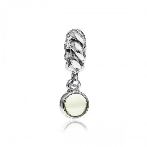 Pandora Disc Silver & Lime Quartz Pendant Charm 790435LQ