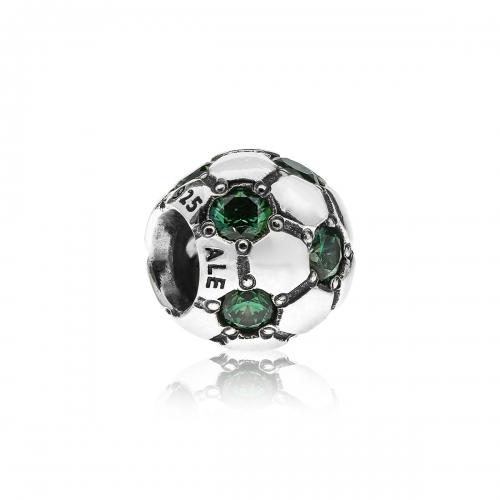 Pandora Football Silver & Green CZ Charm 790444CZN