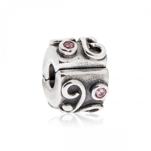 Pandora Swirl Silver & Pink CZ Clip 790380PCZ