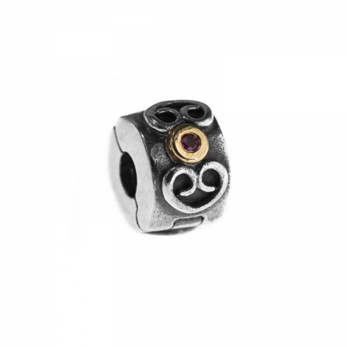 Pandora Silver and Pink Sapphire Special Swirl Clip 790382PSA