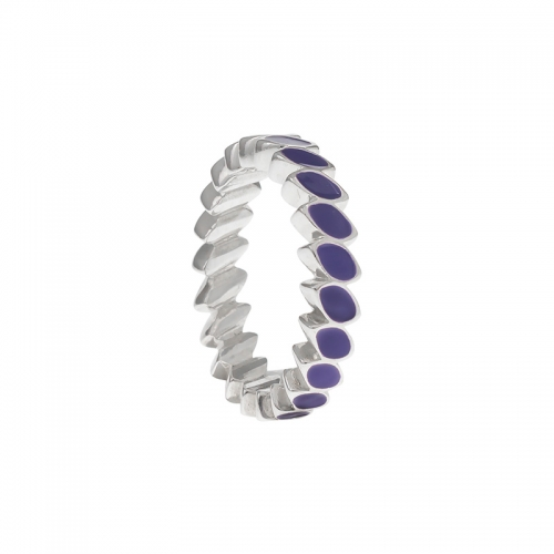 Pandora Silver & Purple Enamel Leaf Band Ring 190141EN02