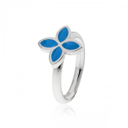 Pandora Silver & Blue Enamel Flower Ring 190142EN01