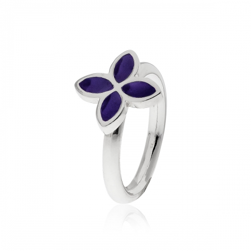 Pandora Silver & Purple Enamel Flower Ring 190142EN02