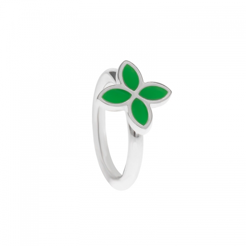 Pandora Silver and Green Enamel Flower Ring