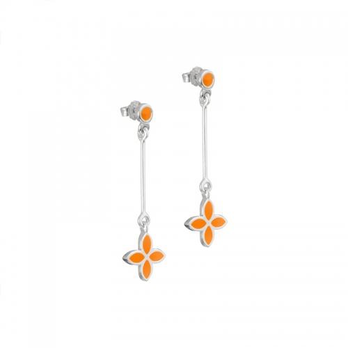 Pandora Orange Flower Dangle Earrings