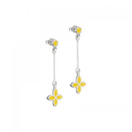 Pandora Yellow Flower Dangle Earrings