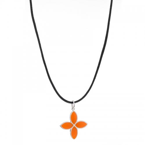 Pandora Leather Necklace with Enamel Flower Pendant