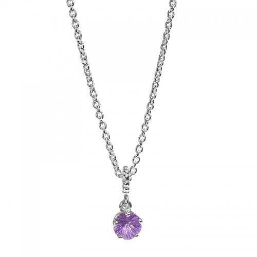 Pandora Sterling Silver & Amethyst Star Necklace 390316AM-55