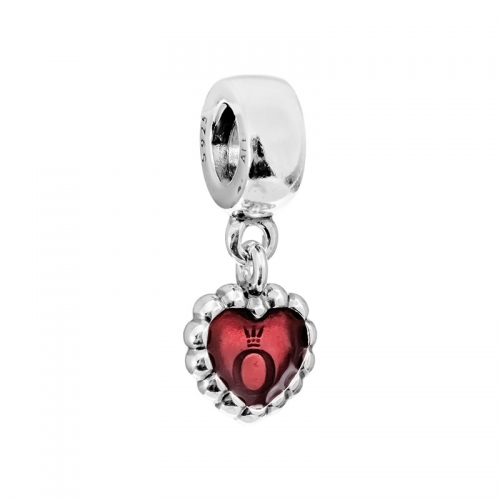 Pandora Dangling Heart Silver & Pink Enamel Charm 790471EN07