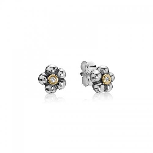Pandora Diamond Stud Earrings: Pandora Sterling Silver, 14k Gold And Diamond Daisy Flower