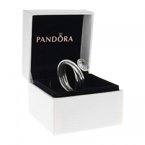 Pandora Silver Multi Band Ring with White CZ
