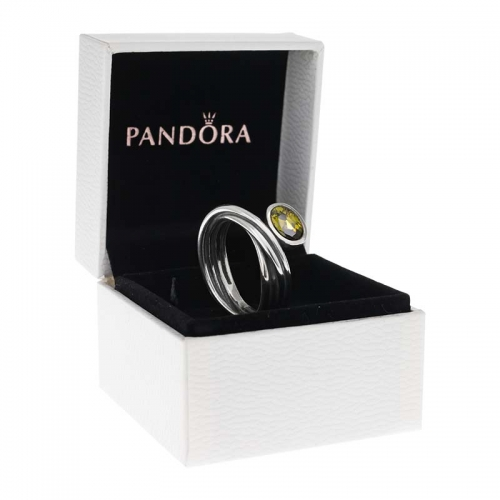 Pandora Silver Multi Band Ring with Green CZ