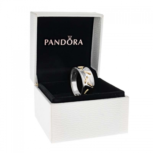Pandora Striped Silver & 14ct Gold Ring 190241 Gift Set
