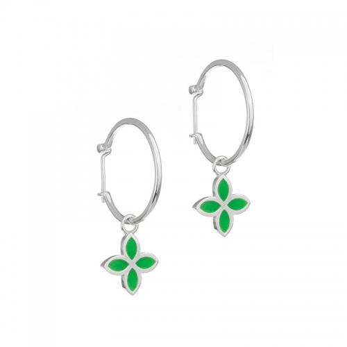 Pandora Green Flower Hoop Earrings