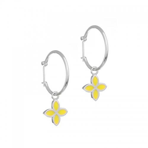 Pandora Yellow Flower Hoop Earrings