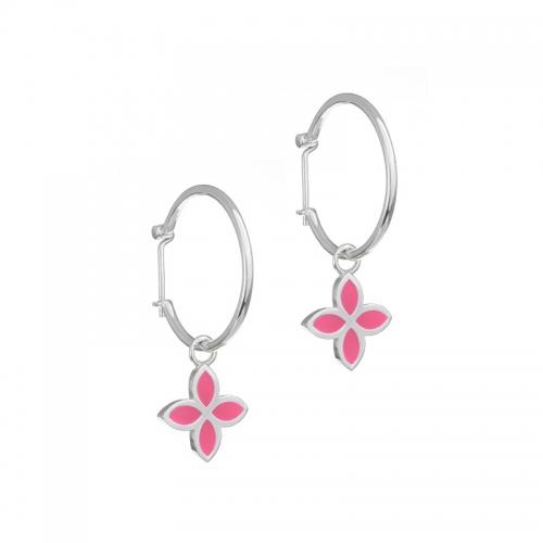 Pandora Pink Flower Hoop Earrings