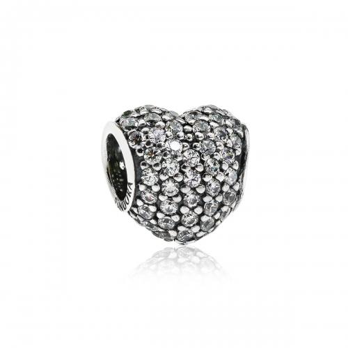 Pandora Pave Heart Silver & Clear CZ Charm 791052CZ