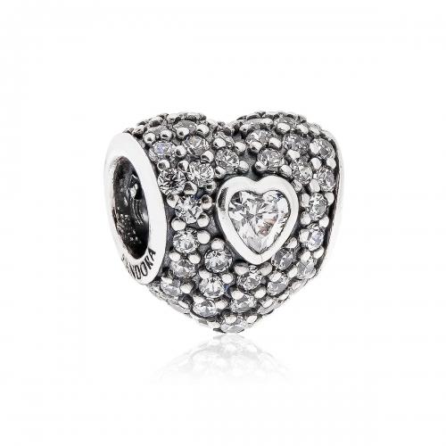 Pandora Triple Heart Pave Silver & Clear CZ Charm 791168CZ