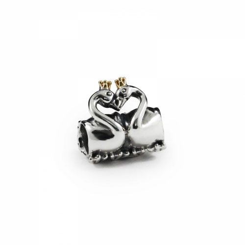 Pandora Swan Embrace Silver & 14ct Gold Charm 791189