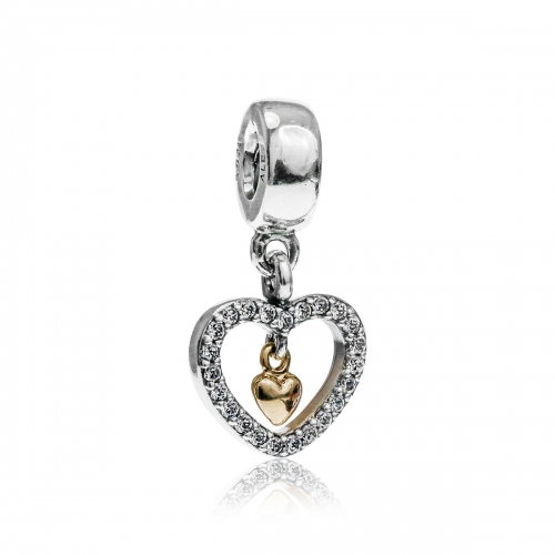 Pandora Forever In My Heart Silver, 14ct Gold & CZ Charm 791421CZ