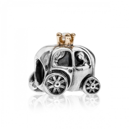 Pandora Carriage Silver, 14ct Gold & Pearl Charm 790598P