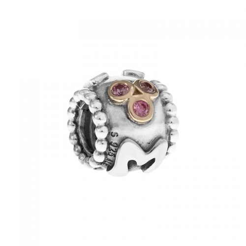 Pandora Mum Silver, 14ct Gold & Pink CZ Charm 790888CZS