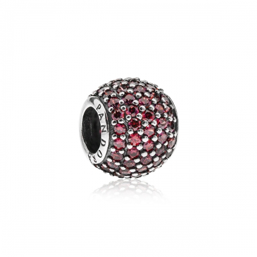 Pandora Pave Ball Silver & Red CZ Charm 791051CZR
