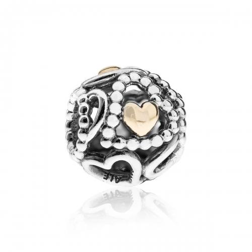 Pandora Openwork Love Heart Silver & 14ct Gold Charm 791372