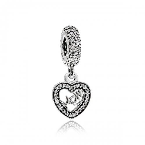 Pandora Love Mum Silver & Clear CZ Pendant Charm 791521CZ