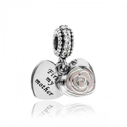 Pandora Mother's Rose Silver, Clear CZ & Pink Enamel Pendant Charm 791528EN40