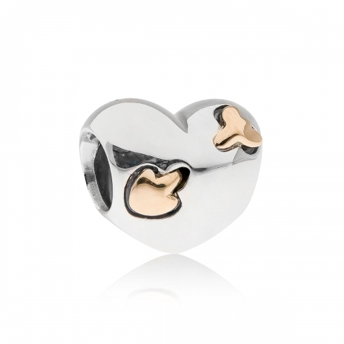 Pandora Hearts & Arrows Silver & 14k Gold Charm 791171