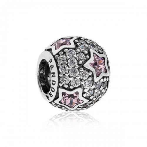 Pandora Pave Stars Silver, Clear & Pink CZ Charm 791382PCZ