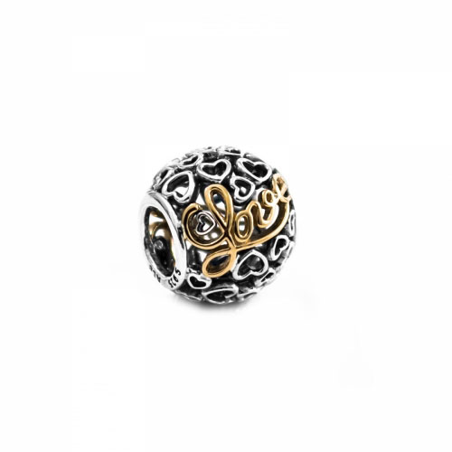 Pandora Message of Love Silver & 14ct Gold Charm 791425