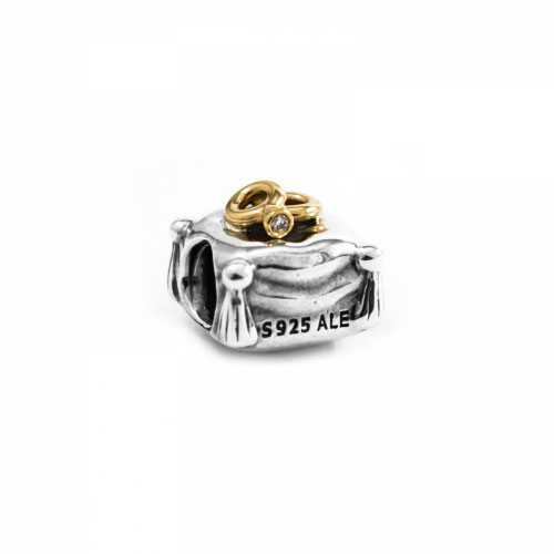 Pandora Wedding Ring Silver, 14ct Gold & Diamond Charm 790549D