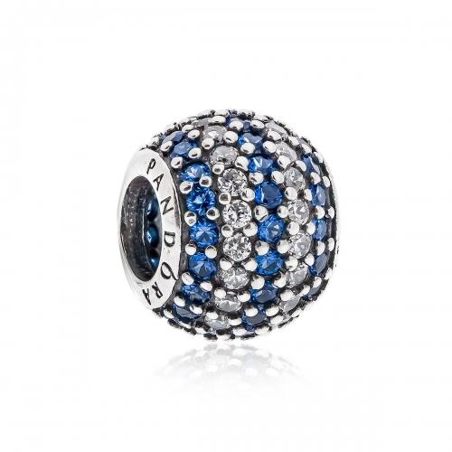 Pandora Stripe Pave Silver, Clear & Blue CZ Charm 791172NCB