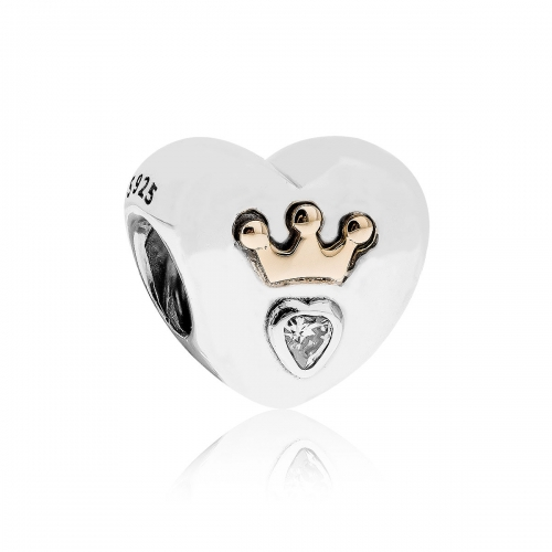 Pandora Majestic Heart Silver, 14ct Gold & CZ Charm 791739CZ