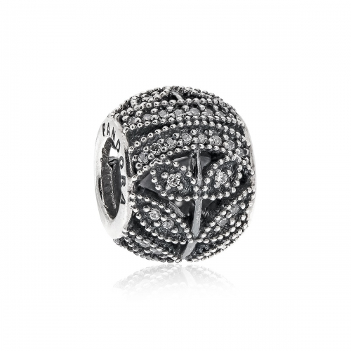 Pandora Sparkling Leaves Openwork Silver & Clear CZ Charm 791380CZ