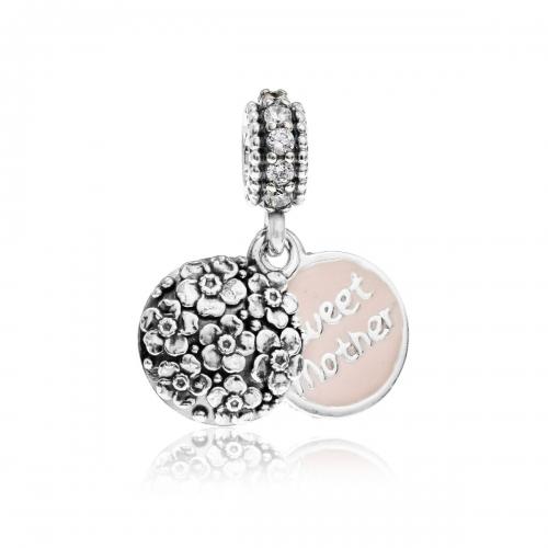 Pandora Sweet Mother Silver, Pink Enamel & Clear CZ Pendant Charm 791285CZ
