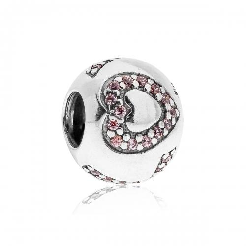 Pandora Sparkling Love Silver & Pink CZ Charm 791196PCZ